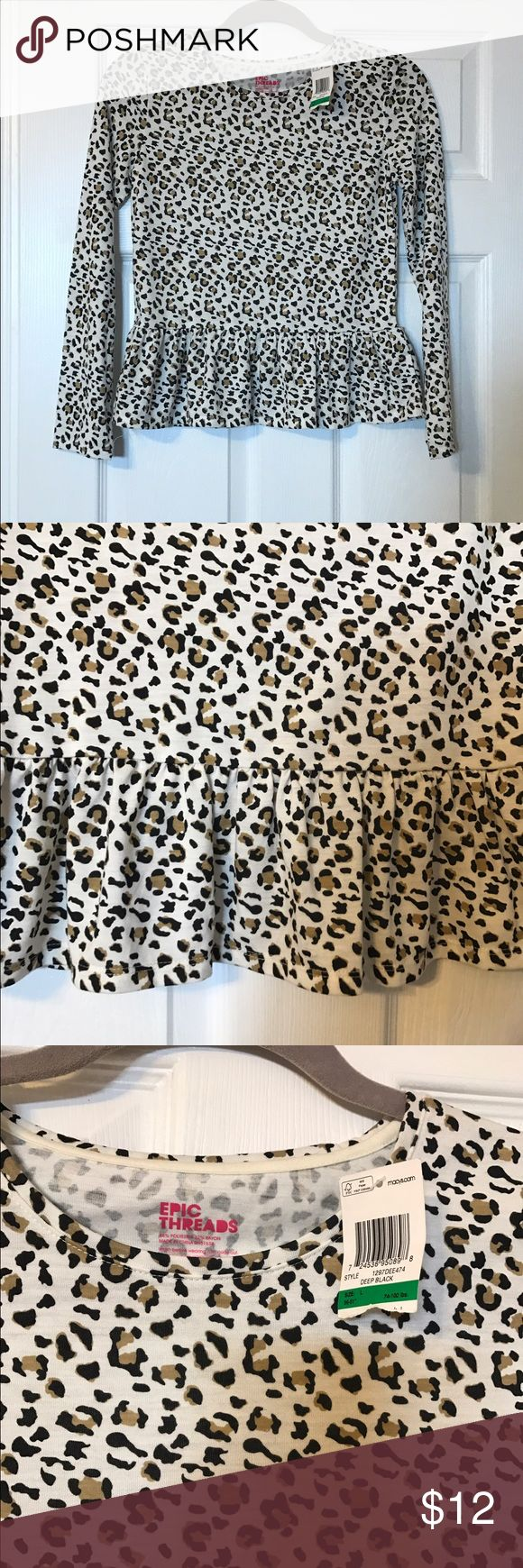 ❤️$10 sale❤️cheetah print peplum top Beautiful cheetah print top with ruffle on bottom - size large 10-12 Epic Threads Shirts & Tops Blouses
