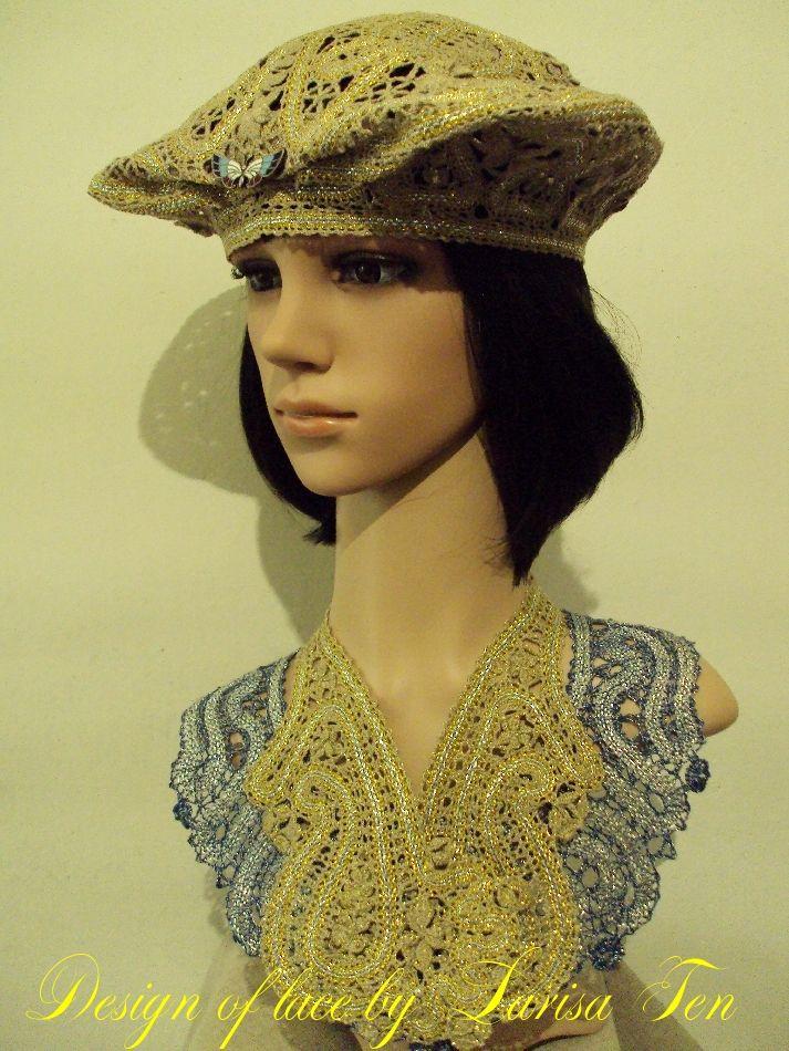 Larisa Ten. Beret. 2016. The collars. 2013. Quick coupler the weaving. Linen, Lurex, silver cord, gold thread (3 strands) ... Brooch. Houses, Tashkent, Uzbekistan