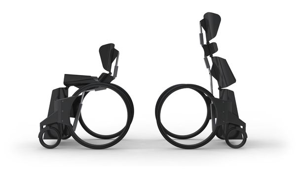 Urban Wheelchair by Ben Thorpe can also be used to prop up the user as if he/she were standing.