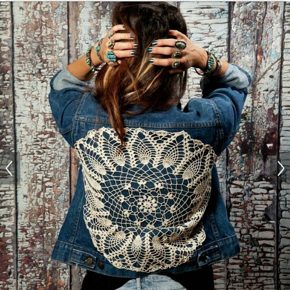 One of a kind Vintage Orange Tab Levis Jacket Upcycled Vintage one of a kind Levis Jean Jacket.I addes a vintage doily added to the back for a bohemian gypsy look.. Denim BoHo Hippie Gypsy levis Jackets & Coats Jean Jackets