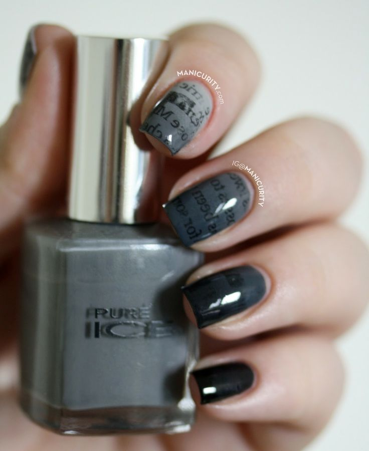 Manicurity | The Digit-al Dozen: Gradient Ombre Newsprint Nails - grey monochrome gradient ombre newspaper print nail art manicure