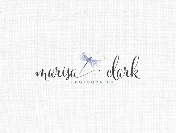 Dragonfly Logo Design, Boutique Logo ,Watercolor Logo, Photography Logo, Decor…