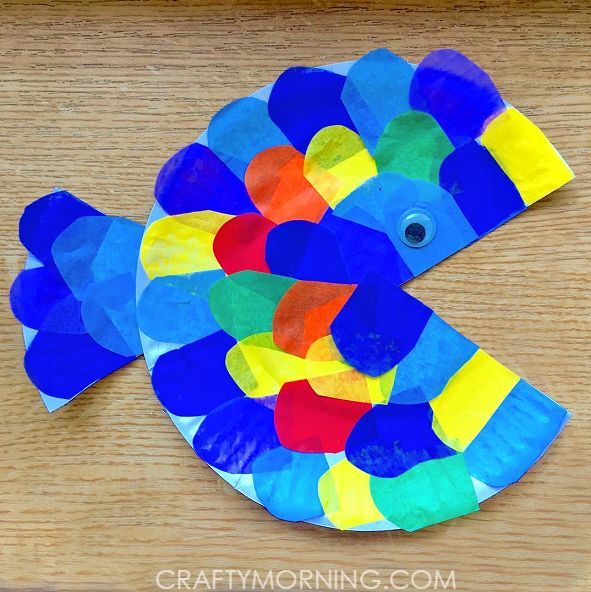 Supplies Needed: Paper plate Tissue paper Scissors Glue Googly eye Start by cutting painting a whole paper plate with blue paint or watercolors. Once it is dry, cut out a small triangle to make the fish's mouth and tail. Cut pieces of tissue paper to look like scales and glue them all over the plate. …
