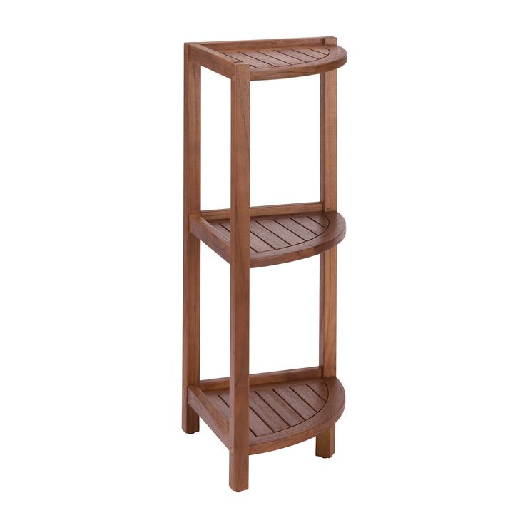 Stained Teak 3 Tier Corner Shelf In Brown Bathroom