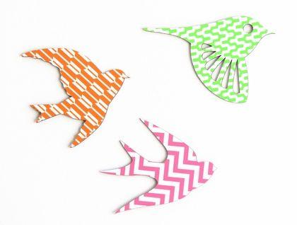 Flock of Geometric Patterned Birds Wall Art  - Set of 3 flying birds in silhouette