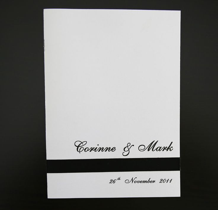Black and white wedding ceremony books, order of service books, wedding booklets, wedding programs, order of service and church books front covers only, or printable templates, we can help. See our samples and order online or speak to us to discuss your requirements. We can tie, the look in with your wedding invitations.