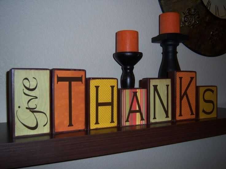 "DIY ""Give Thanks"" Blocks : wooden blocks + black paint + fall colored scrapbook paper + vinyl lettering + mod podge... super cute!"