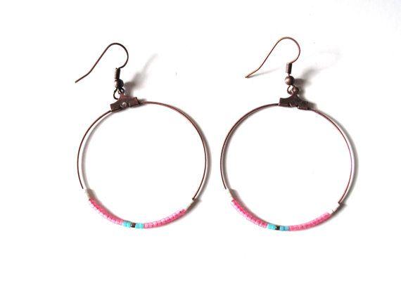 Boucles d'oreilles SUN earrings créoles cuivre par Alittlecrea