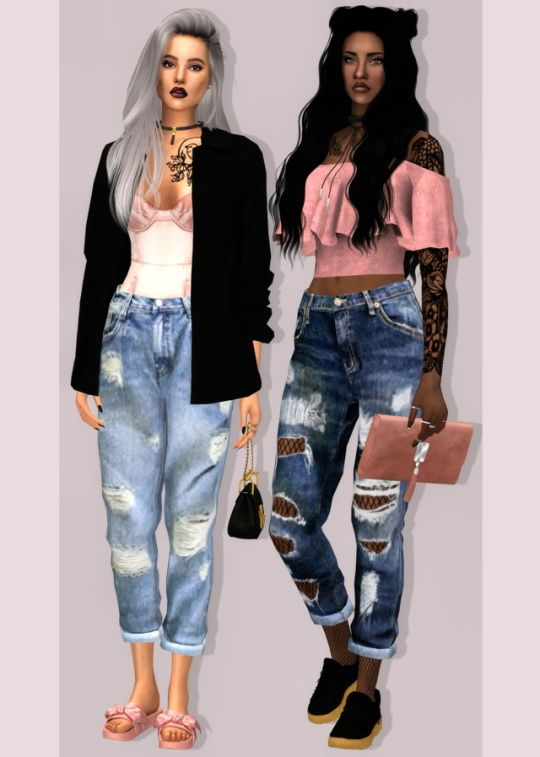 LumySims: Simsimi Boyfriend Jeans • Sims 4 Downloads