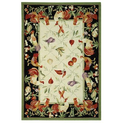 "Safavieh Chelsea Leaf and Chicken Novelty Area Rug Rug Size: 3'9"" x 5'9"""