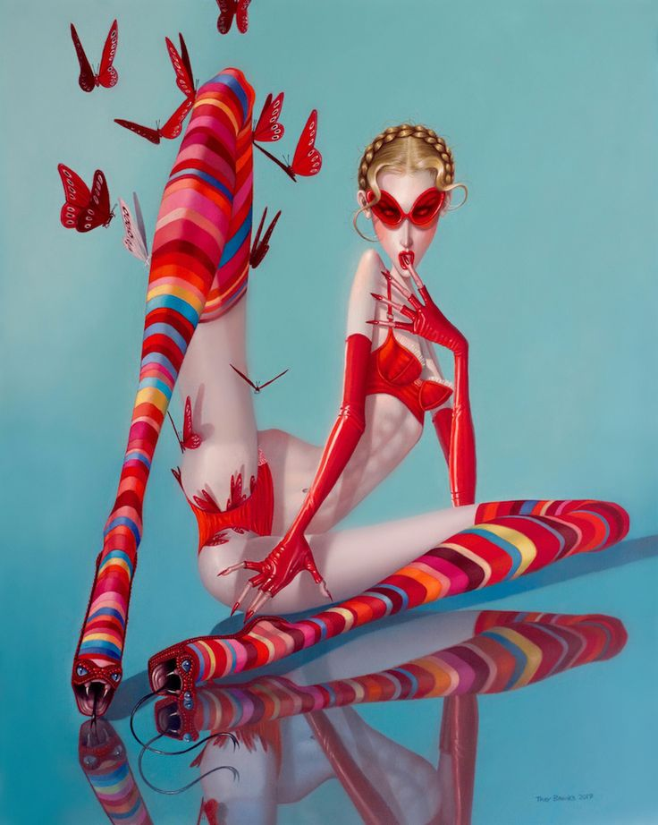 """""""My girls have always moved in cycles. Every year there's a mood that sort of surfaces throughout my work, and after marinating in it, the concept usually generates its opposite in the next series. In other words, a year of reflective work is followed by more whimsical themes. I often refer to this as my crop rotation."""" -Troy Brooks"""