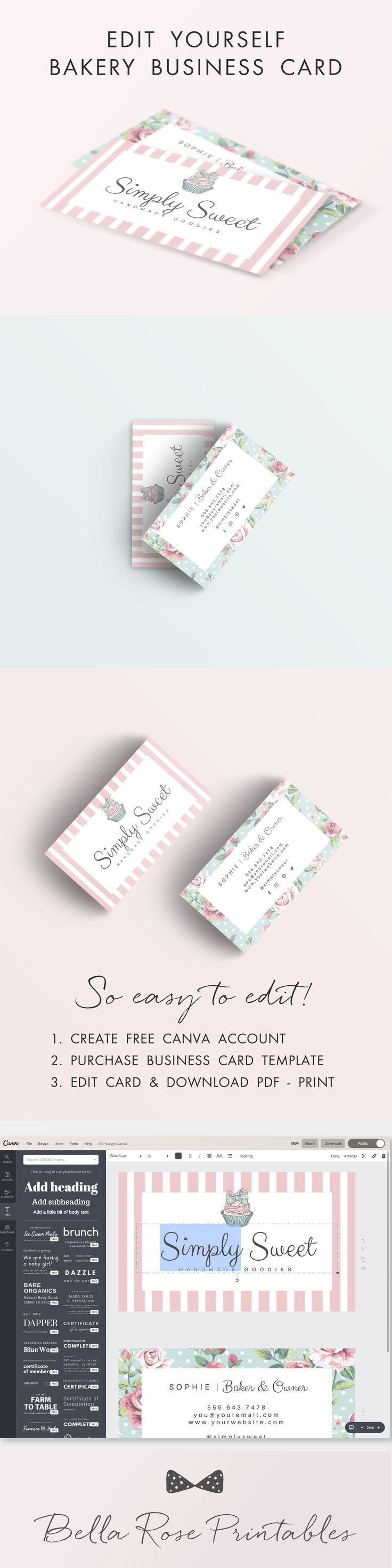 Cupcake Bakery Business Cards. This is a fully customizable business ...