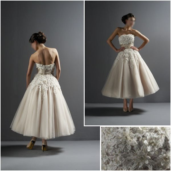 Classic champagne tea ankle length wedding dress for Wedding dress ideas for short brides