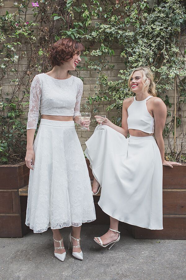 Beautiful lesbian wedding style by House of Ollichon. Pretty crop tops and skirts in a range of mix and match styles. Ditch the traditional wedding dress and rock your own, unique look. #LesbianWedding #SameSexWedding #AlternativeWedding