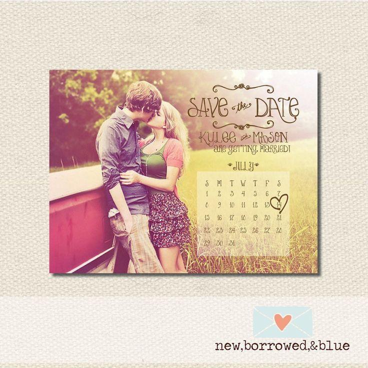 Save the Date con foto de los novios y calendario con la fecha marcada