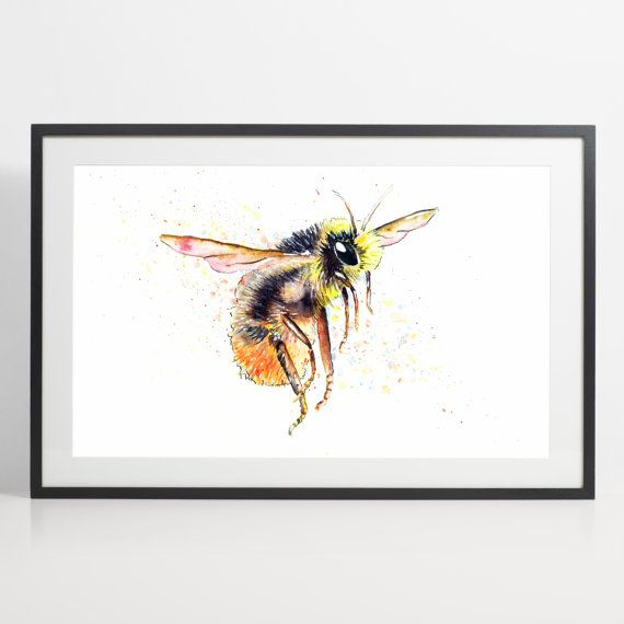 Watercolor Bumblebee Painting Print  Bumblebee art animal