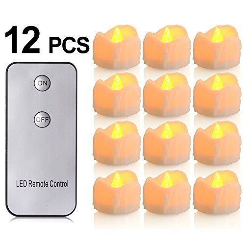 LED Flameless Candles with Remote Control, PChero Battery-Powered Yellow Flickering Tea Lights, Looks Like Real Wax Candle, Last up to 48 Hours, Perfect for Wedding Parties Home Decorations - [12pcs] * Want additional info? Click on the image.