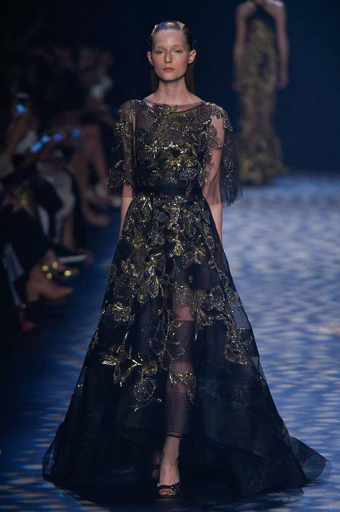 Marchesa Spring 2017 Ready-to-Wear: Glam gown! I like the gold embroidery and the sheer sleeves.