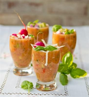 Soups for Summer: Spicy Gazpacho Shots with Avocado, Fresh Basil ...