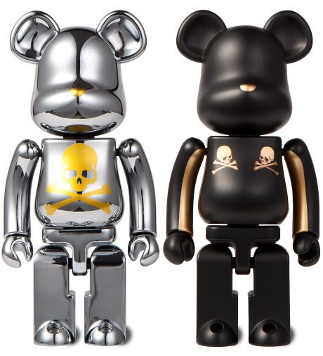 Medicom Toy mastermind Japan x BE@RBRICK Metal 2 Pack 200% Gold Stripe/Chrome Silver
