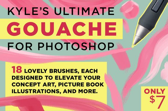 Kyle's Gouache Brushes for Photoshop by Kyle's Pro Design Tools  on…