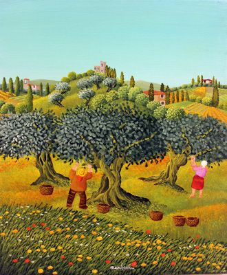 Picking Olives in Tuscany by Cesare Marchesini