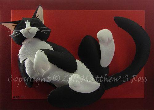 Tuxedo Cat 5x7 Paper Sculpture 2D PRINT by Matthew Ross. $20.00, via Etsy.