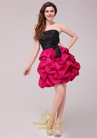 Amazing Hot Pink And Black Homeing Cocktail Dresses Black Top Pink Bottom Prom Dress