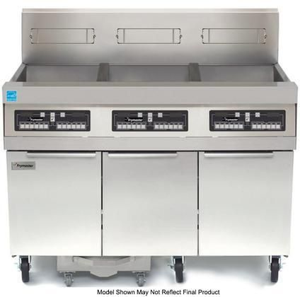 "FPPH355 47"" H55 Series Energy Star Commercial Gas Fryer with 240000 BTU 150 lbs Oil Capacity Fryer Batteries with Built In Filtration Infrared Burner and Blower System in Stainless Steel"
