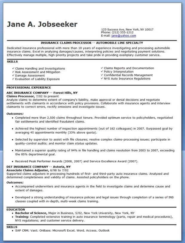 Insurance Claims Processor Resume Examples Looking For