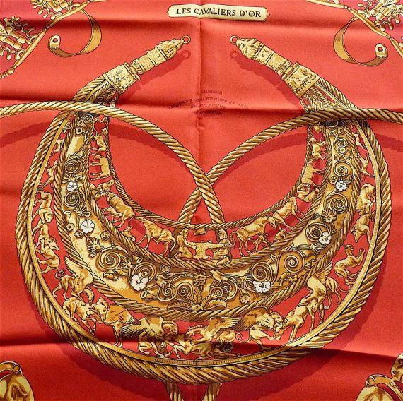 HERMES Scarf Red Gold tone Vintage 1975 by VintageParisLuxe #vogueteam #etsygifts #vintagescarves