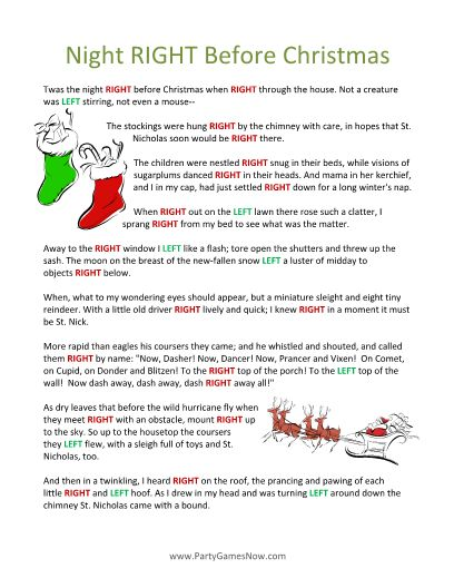 this is a nice twist on the classic left right poem game using twas the night before christmas - Twas The Night Before Christmas Poem Funny