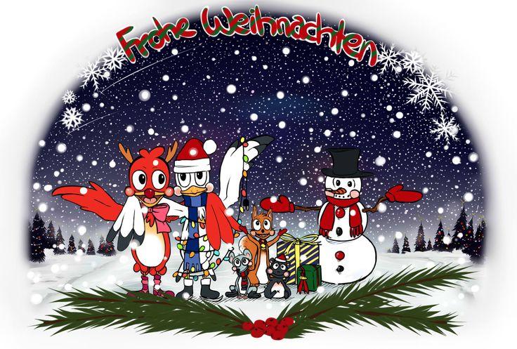 Weihnachtskarte Nr. 2 im Comicstyle.  #drawing#zeichnung#postcard#digital#comic#animals#christmas#weihnachten