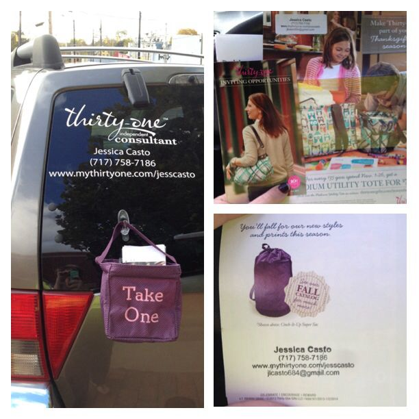 Pinner Said: This is how I generate leads for my Thirty One business! I but 5 mini catalogs stuffed with a customer special flyer! Everything is stamped with my info! Direct Sales leads!!! Just make sure to take the caddy off the back of your car before you drive off! :)