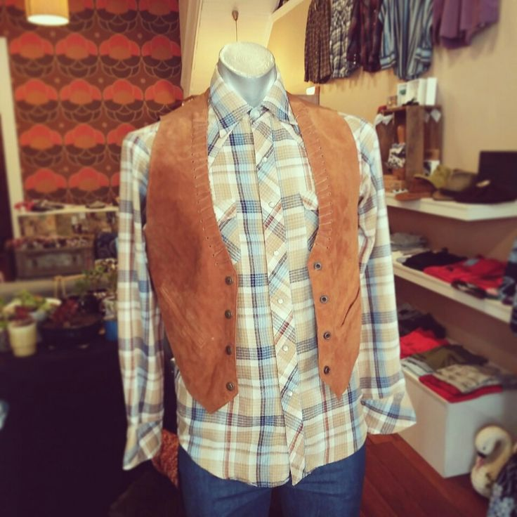 Vintage tan vest and check cowboy shirt. Heehaw! #vintage #tan #vest #tanvest #check #checkit #checkshirt #cowboy #cowboyfeels #vintagefeels #cowboyshirt #heehaw #hotdiggity #layers #rodeo #ranch #man #manly #casualcool
