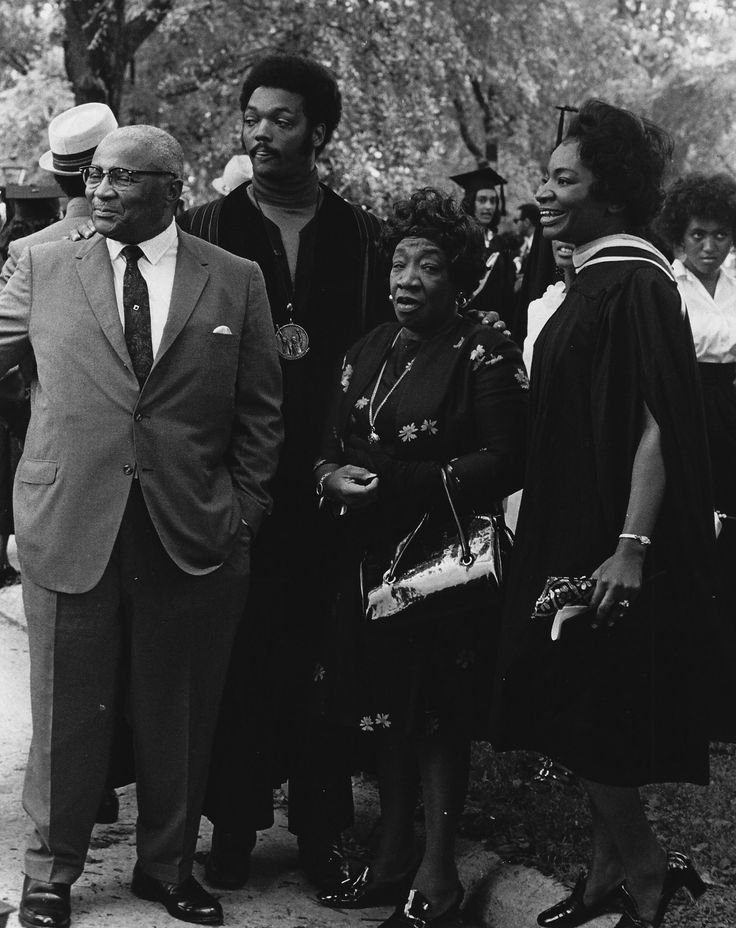 Martin Luther King Sr.; Jesse Jackson; Alberta Williams King; and Christine King Farris at her Spelman College commencement. Courtesy of the King/Farris Family