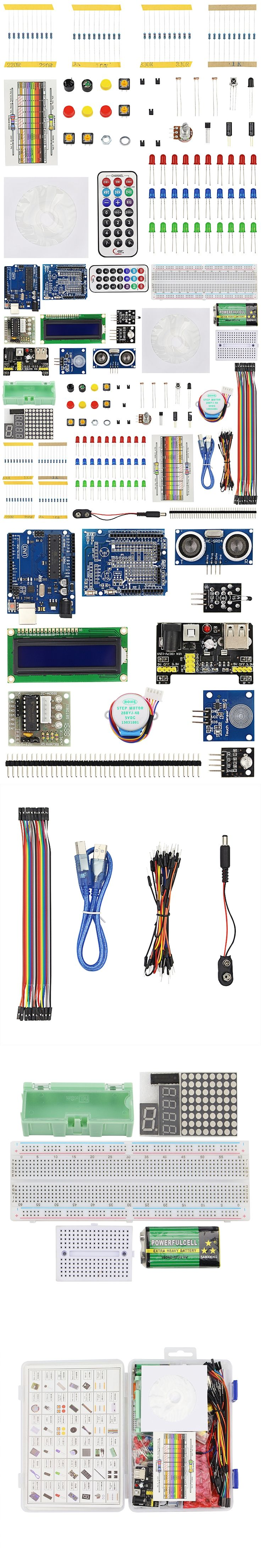 High Quality Starter Kit for Arduino Motor Breadboard Jumper Wire LCD1602 LED Lights USB Cable Resistance Kit for Arduino + Box