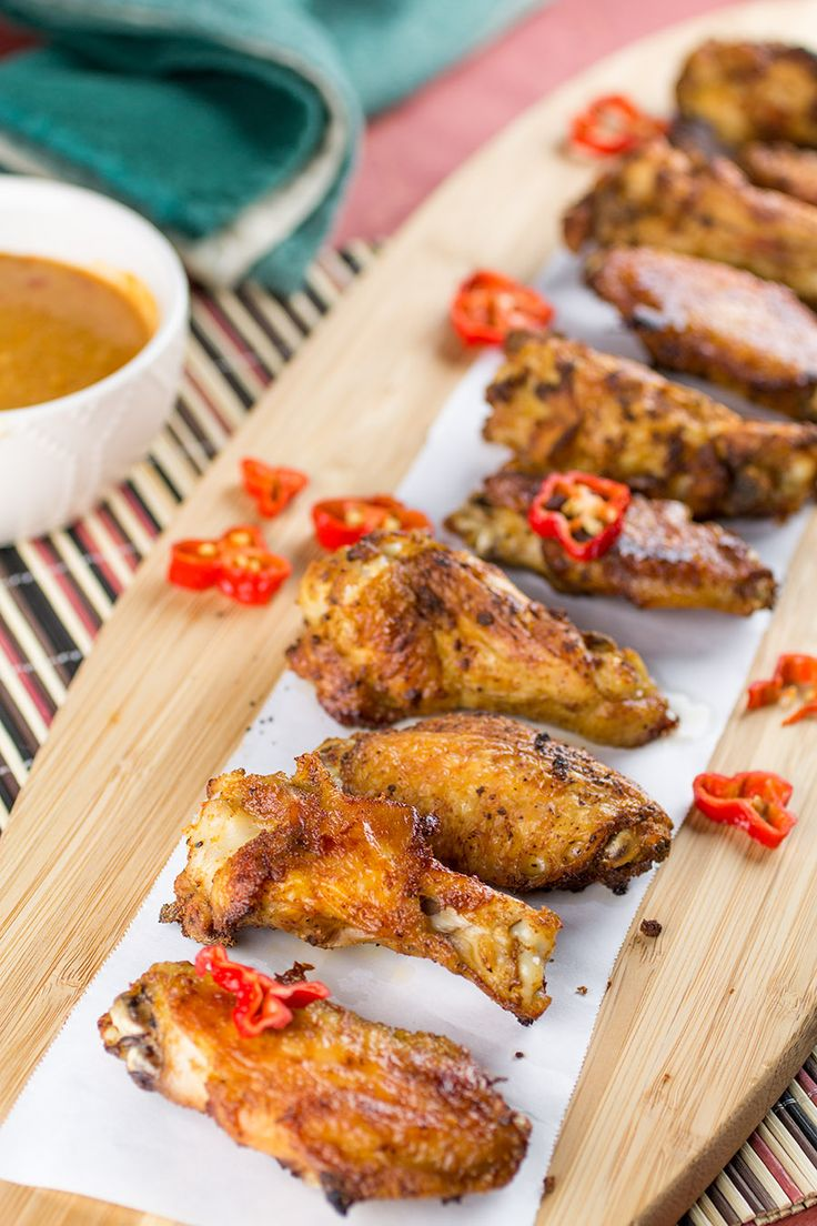 Crispy Baked Ghost Pepper Chicken Wings with Buffalo-Blue Cheese Sauce