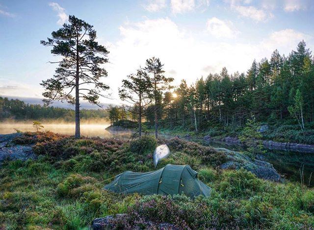 This morning 💜 #oggevatn #tentlife -------------------------------------------------- . . . . . . #canoeing #tent #kanotur #ilovenorway #visitnorway #friluftsliv #fvnhelg #norgefoto #Norway #telttur #norskefototalenter #fotoglede #thebestofscandinavia #thebestofnorway #morningfog #morgentåke