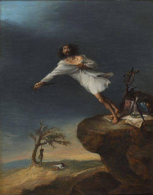 Sátira del suicidio romántico, por Leonardo Alenza, ca. 1839 (Museo del Romanticismo)