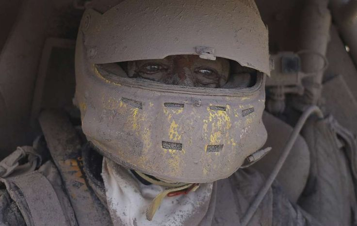 Week of  Jan. 6, 2017:     San Miguel de Tucumán, Argentina:   Suzuki car driver Tim Coronel of the Netherlands is covered in dirt after completing the second stage of the Dakar Rally, between Resistencia and San Miguel de Tucuman, on Jan. 3, 2017.