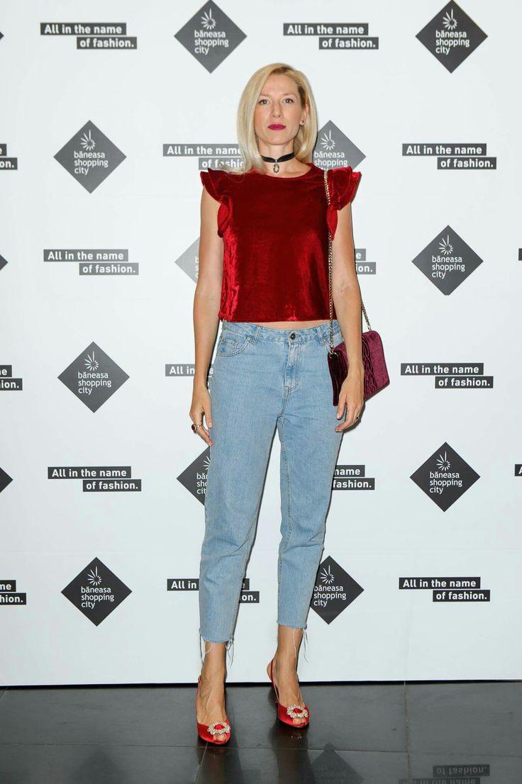 Sonia Argint in jeans and velvet top