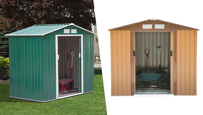 buy large 6ft x 4ft metal garden shed brown or green uk deal for just 16499 get your garden tools in order in the large 6ft x 4ft metal garden - Garden Sheds 6ft By 4ft