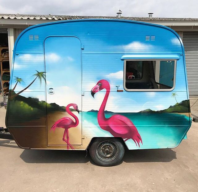 Caravan vehicle wrap painted in free hand spray paint