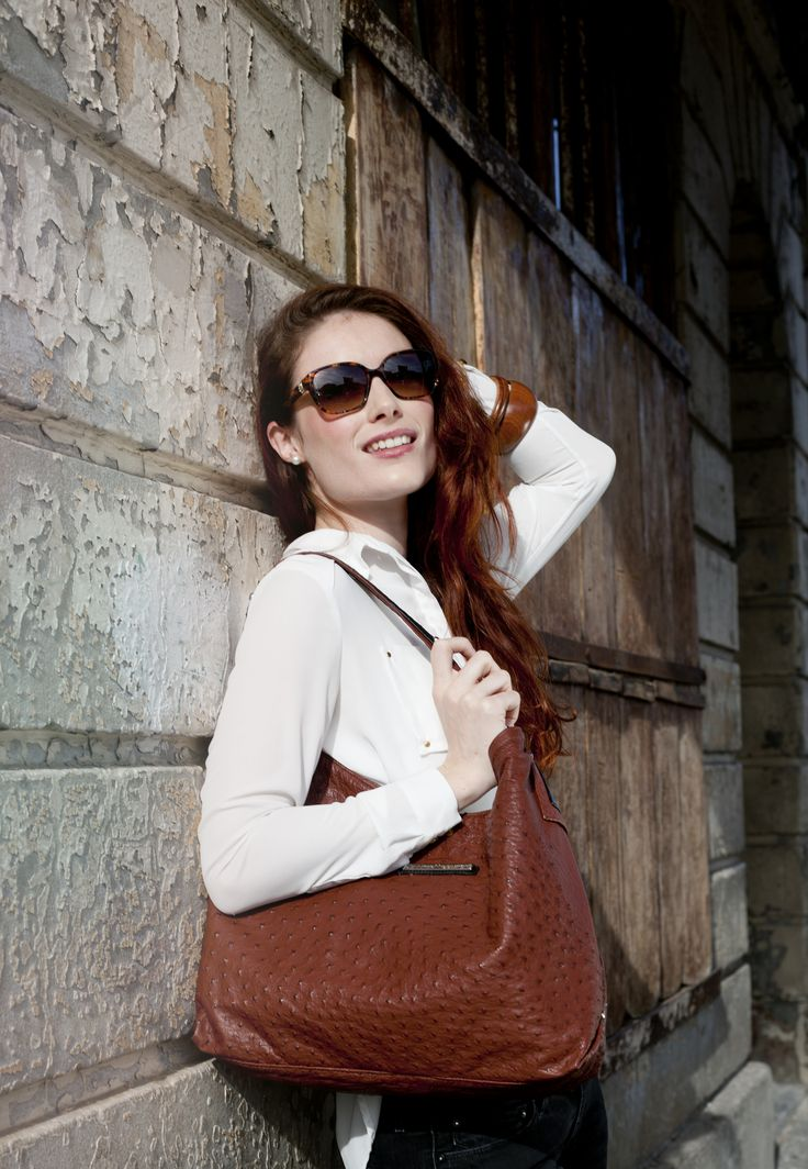 Tan Ostrich Leather Marylynn Bag #jennifermiddletonbags #luxurydesignerhandbags www.jennifermiddletonbags.com