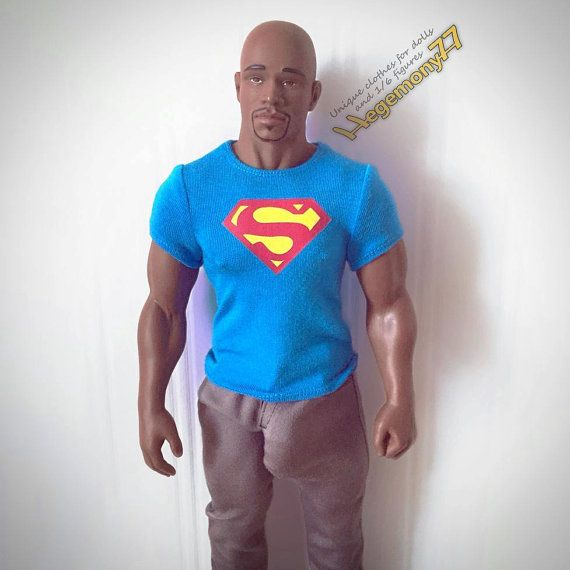 1/6th scale XXL blue Superman T-shirt for: 1/6th scale XXL blue Superman T-shirt for: Hot Toys Truetype TTM 20 and similar bigger / larger sixth scale figures and male dolls such Billy or Tyson (in the photo) doll by Totem, Tom of Finland doll...