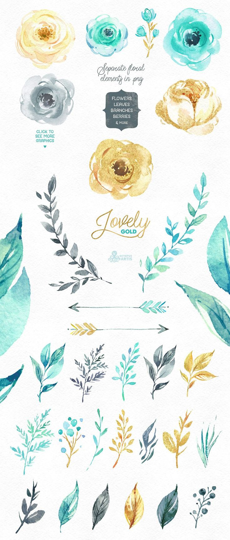 50%OFF! Lovely Flowers. Mint & Gold by OctopusArtis on @creativemarket