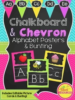 Love these! Capital and lowercase! Chalkboard and Chevron Alphabet Posters and Bunting