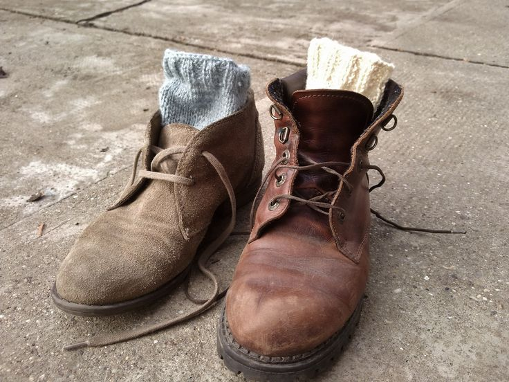 knitted socks for winter ♥♥ #knit #socks #wool #leather #boots