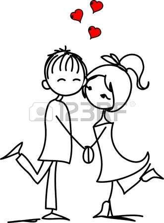 Valentine doodle ni�o y una ni�a photo